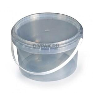 Ведро пищевое 2л круглое прозрачное
