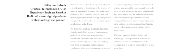 Columns of text for use in web design