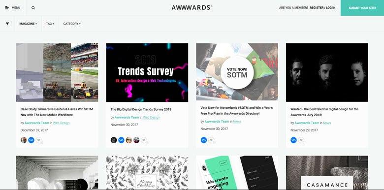 A screenshot of awwwards.com/blog using card design in their website.