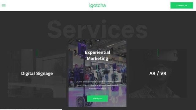 Screenshot of igotchamedia.com minimalism design use in their Services section.