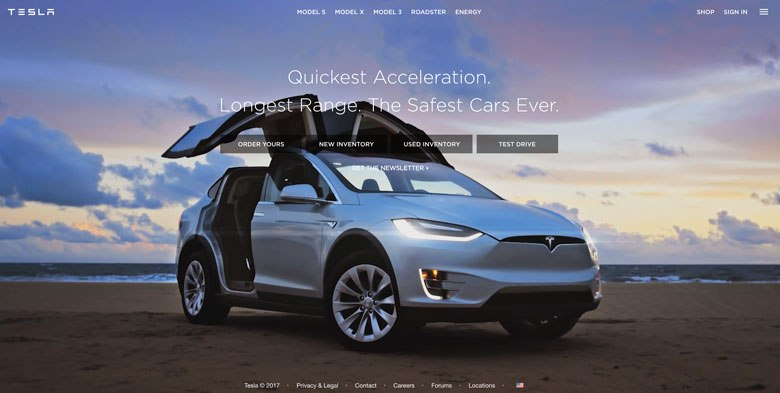 Screenshot of tesla.com showing an actionable landing page on the web.