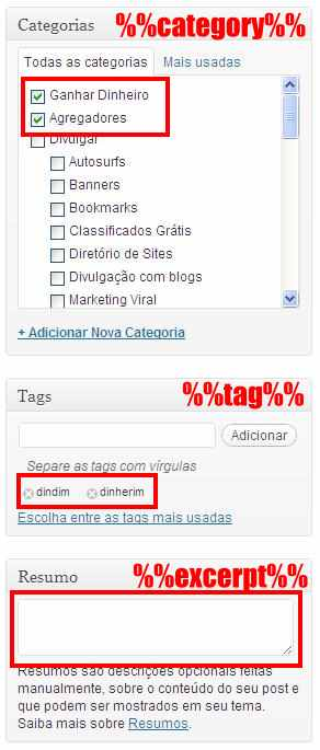 campos categorias tags resumo editor post wordpress excerpt