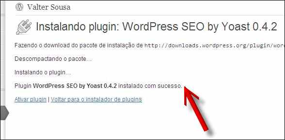 painel progresso instalação plugin wordpress