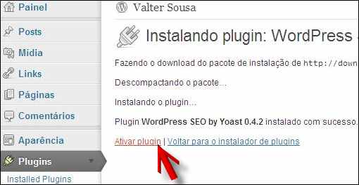 link ativar plugin wordpress
