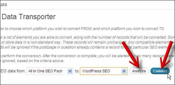 analyze convert plugin seo data transporter wordpress