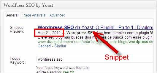 snippet google anúncio data wordpress seo