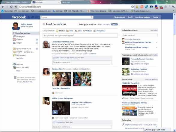 Página Inicial no Facebook