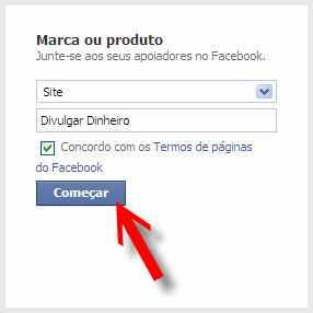 página facebook fan page botão começar