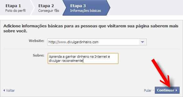 etapa fan page facebook botão continuar
