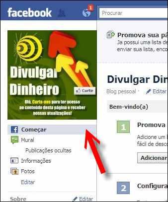 fan page fas pagina fa facebook menu começar