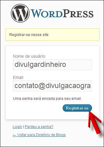 usuario email registar divulgar blogs