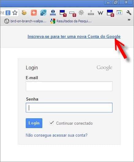 link criar conta google