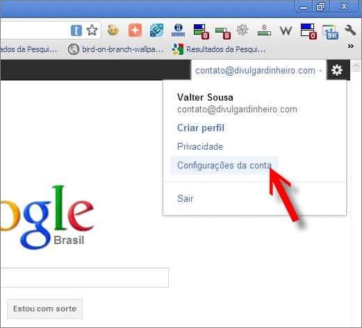 link acessar configurações google contas