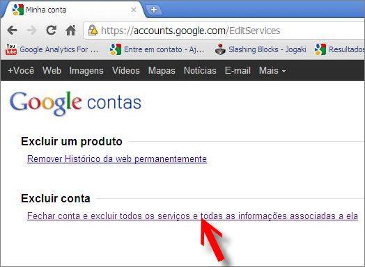 como cancelar sua conta no google contas