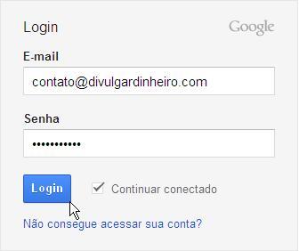 quadro login google analytics