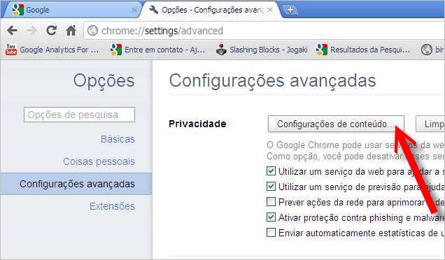 configuracoes conteudo google chrome
