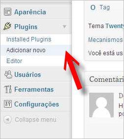 submenu adicionar plugin wordpress