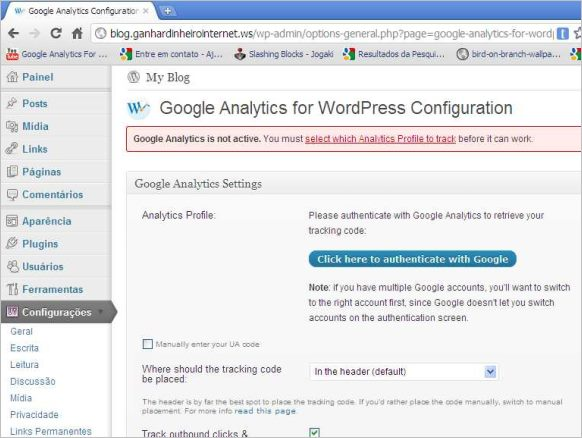 painel plugin google analytics wordpress