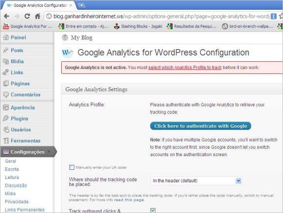 painel plugin google analytics wordpress
