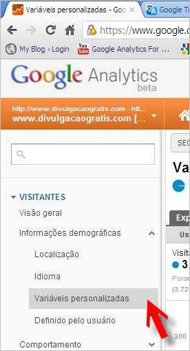 menu variáveis personalizadas google analytics