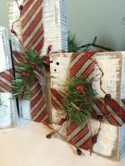 DIY Rustic Wood Block Christmas Gifts Decor