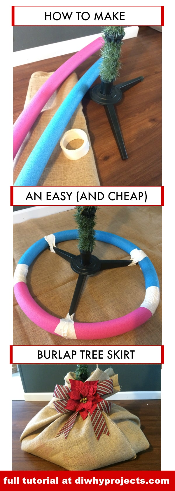 DIY Burlap Christmas Tree Skirt, Farmhouse Style, Rustic Christmas