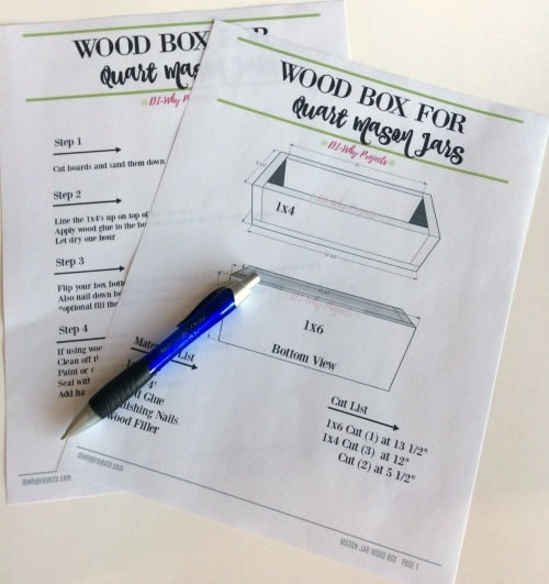 printable plans for quart size mason jar box
