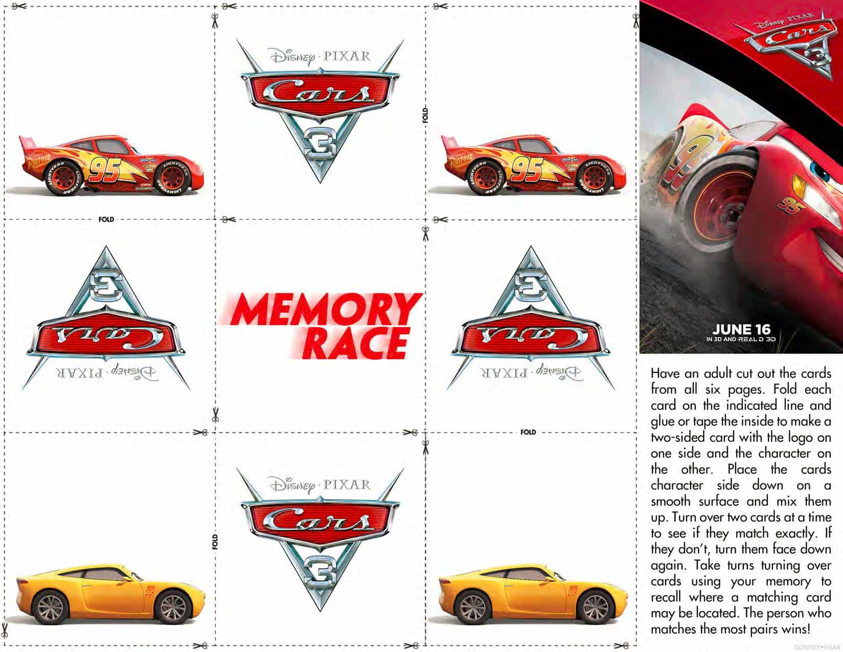 Cars 3 Official Trailer Printable Activity Sheets