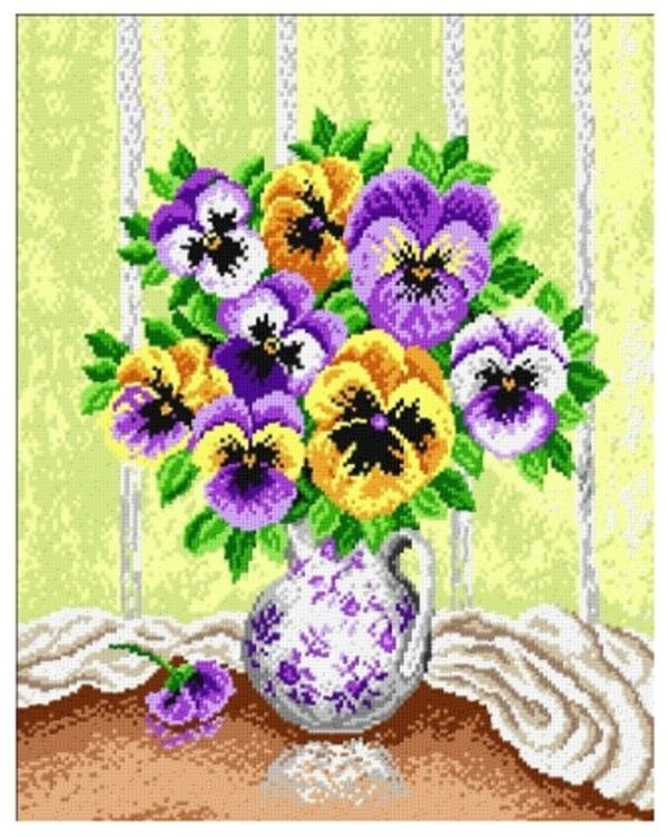 pansy cross stitch pattern free (1)