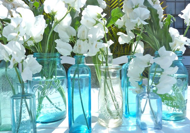 Flowers in Bottles Turqoise by Beachcomber