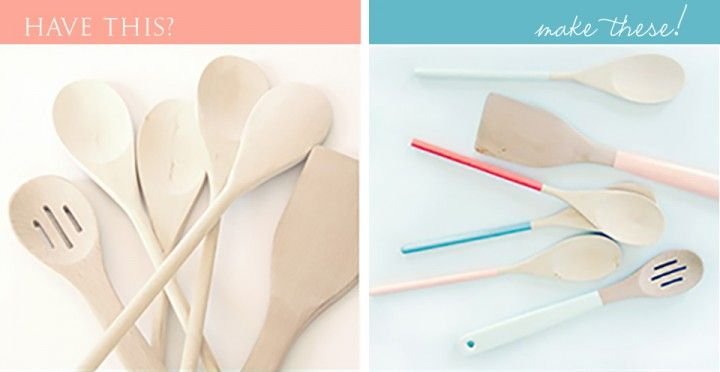 painted wooden utensils