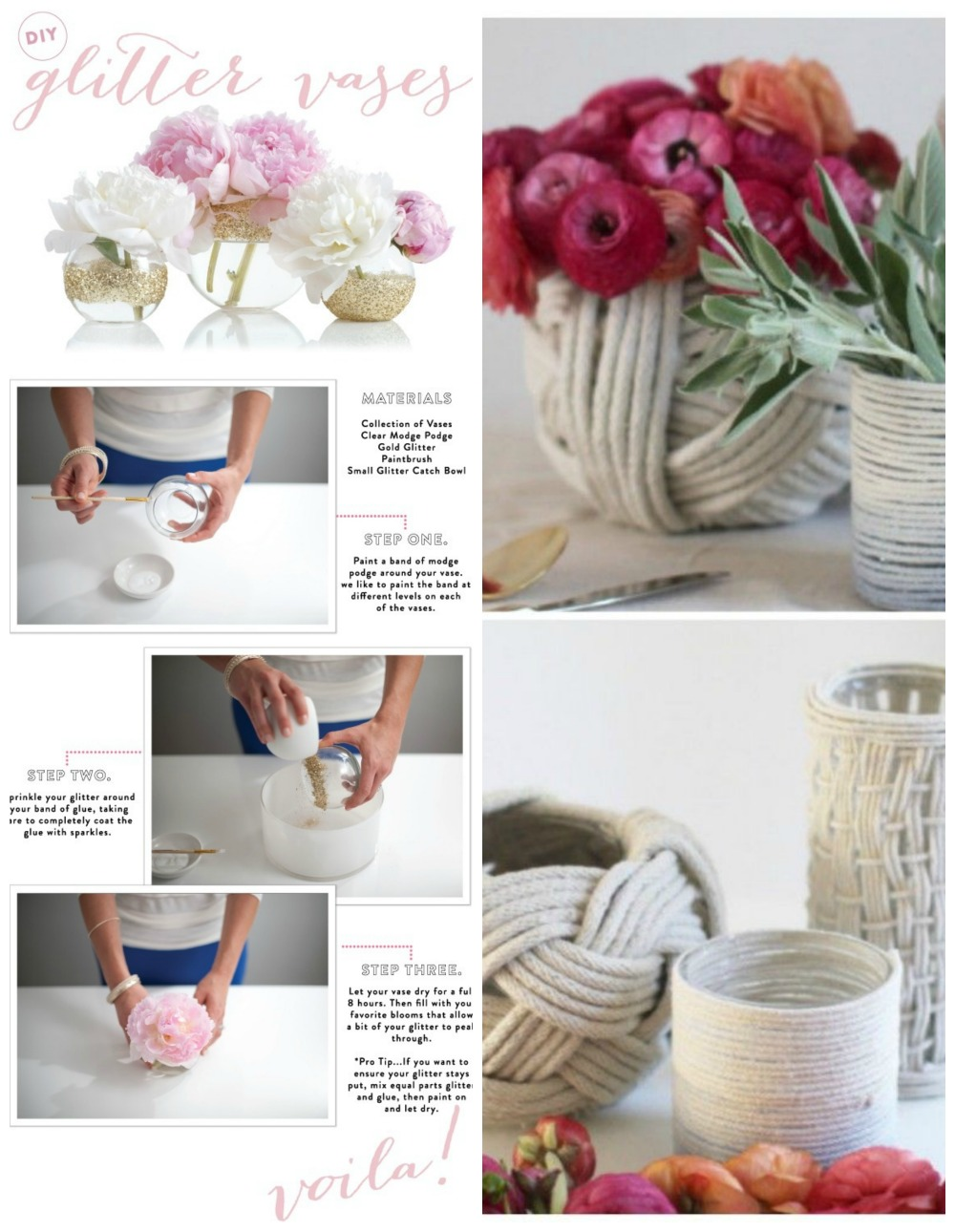 Diy vases diy decorator here are two great diy vases from style me pretty on the left simple use glue and glitter to create these pretty glitter vases full instructions at style reviewsmspy