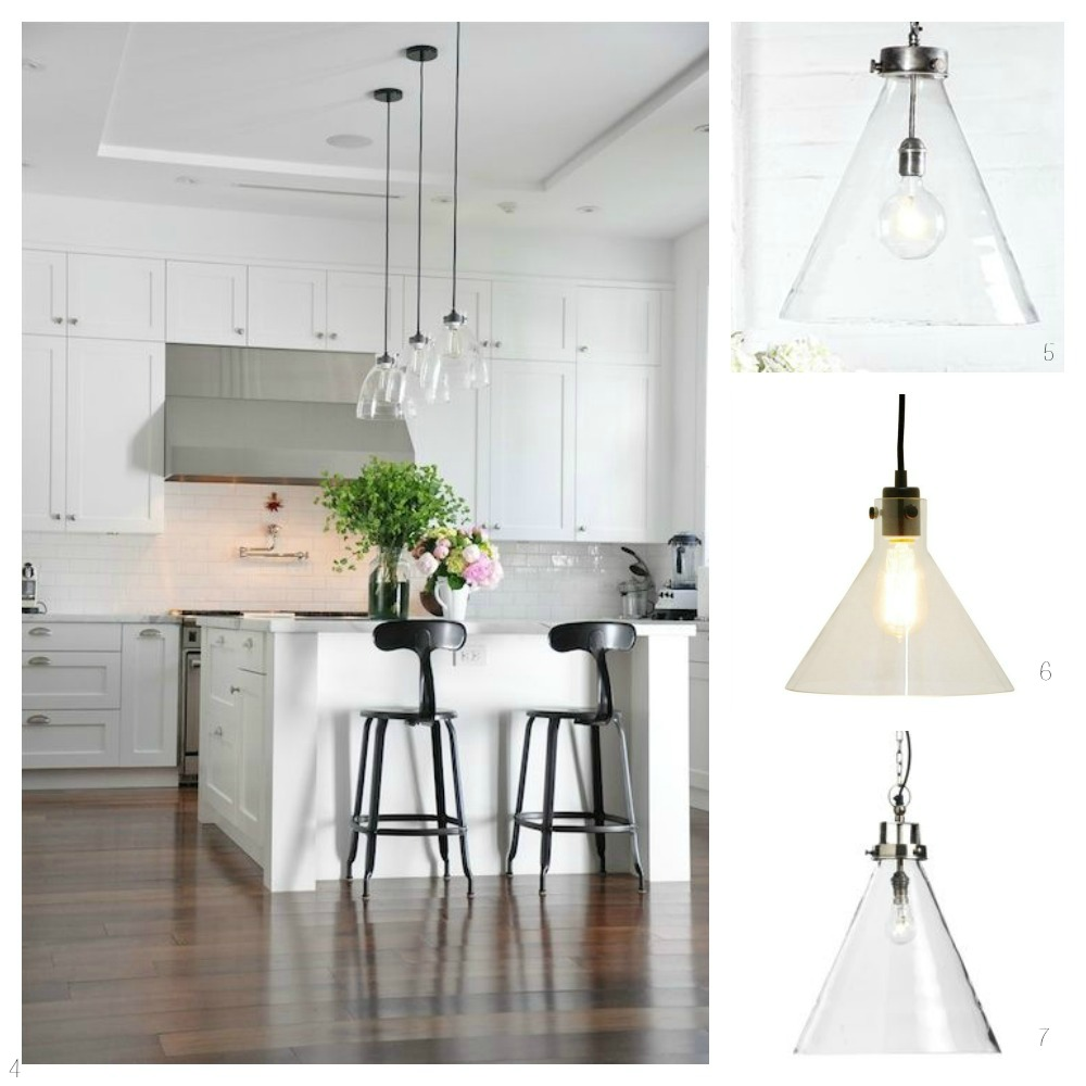 glass pendant lights kitchen