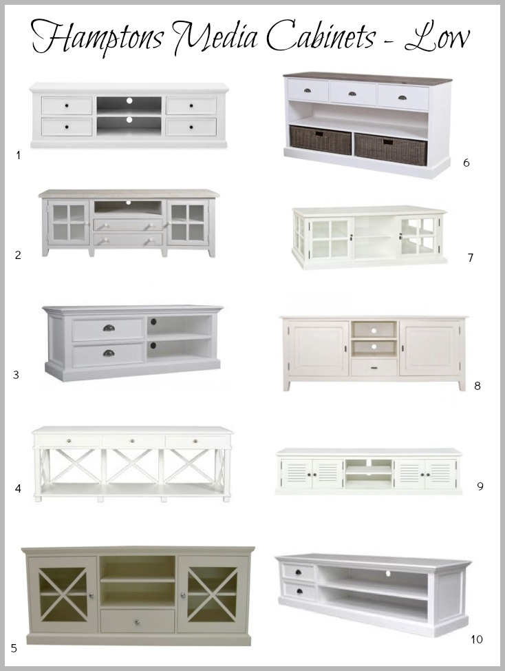 Hamptons Low Media Cabinets