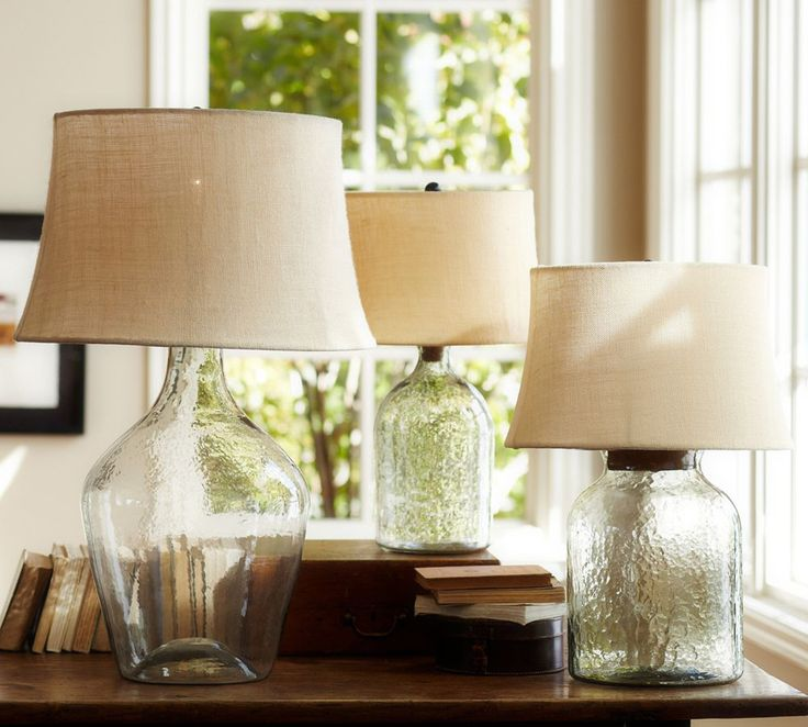 pottery barn glass lamp