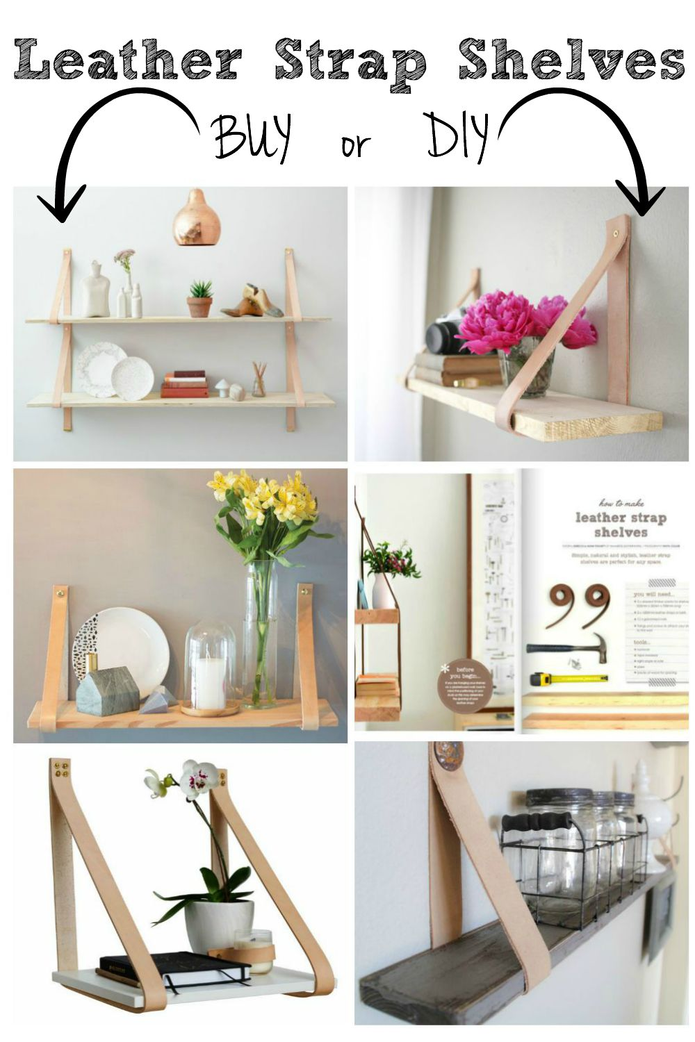 Buy or DIY Leather Strap Shelves