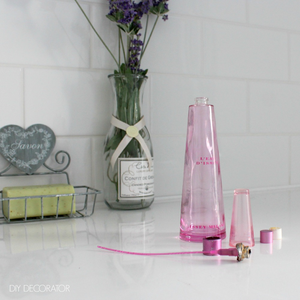 Sprayer removed from old perfume bottle