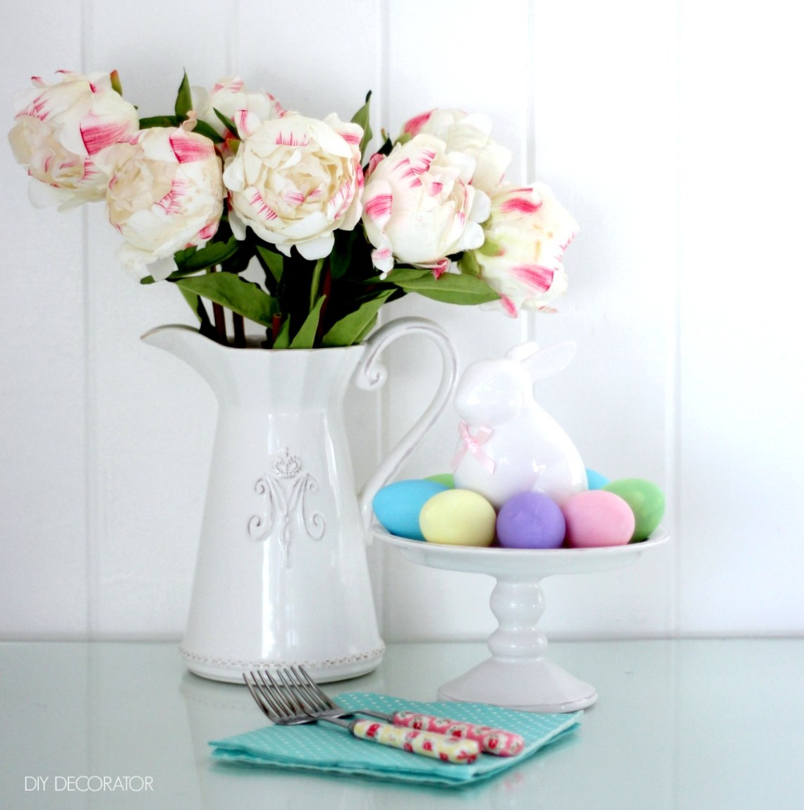 DIY painted easter eggs table setting