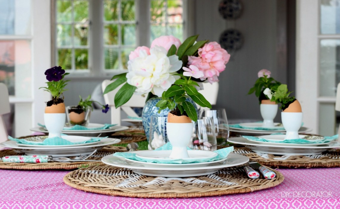 easter flowers table setting