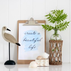 Quote print on watercolour background
