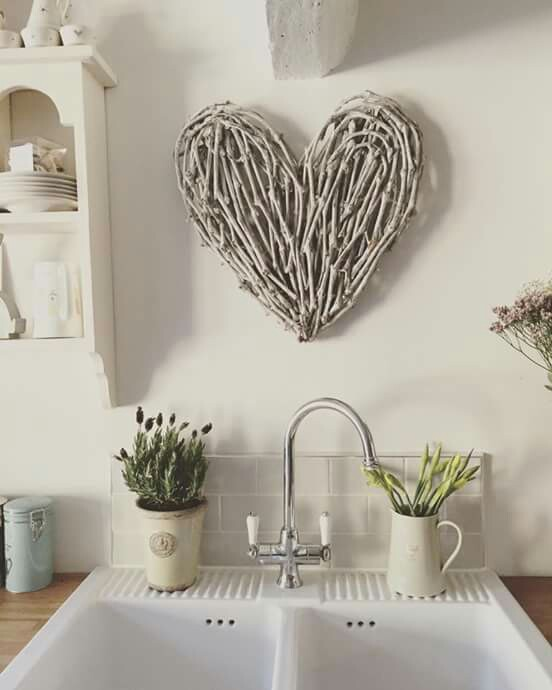 rattan heart wreath kitchen sink