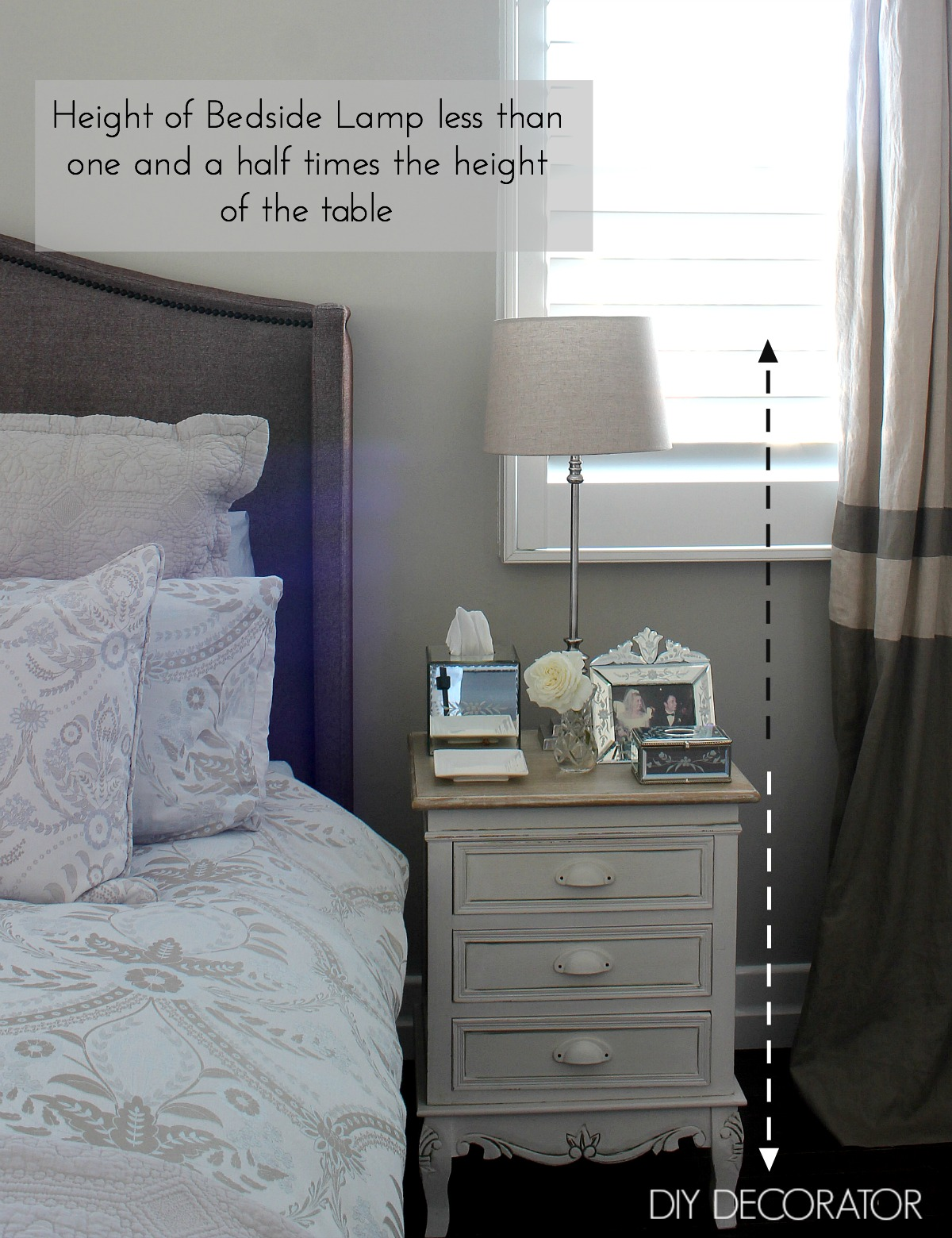 measure the height and the top of the bedside table the lamp will sit on the lamp should be no more than one and a half times the height of the table - Height Of Bedside Table