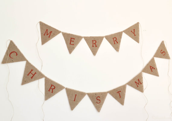 Handcrafted Christmas decorations bunting