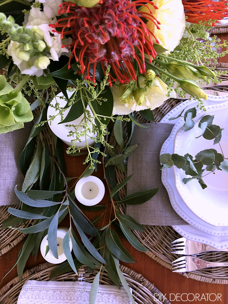 Create this Australian Christmas table in less than 10 minutes. See full tutorial. Just add gum leaves.