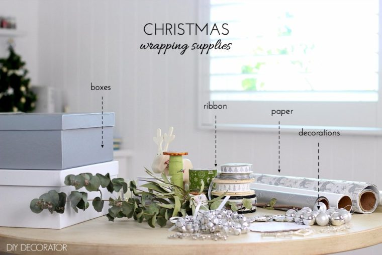 Christmas wrapping supplies. What you need to create beautiful looking Christmas presents.