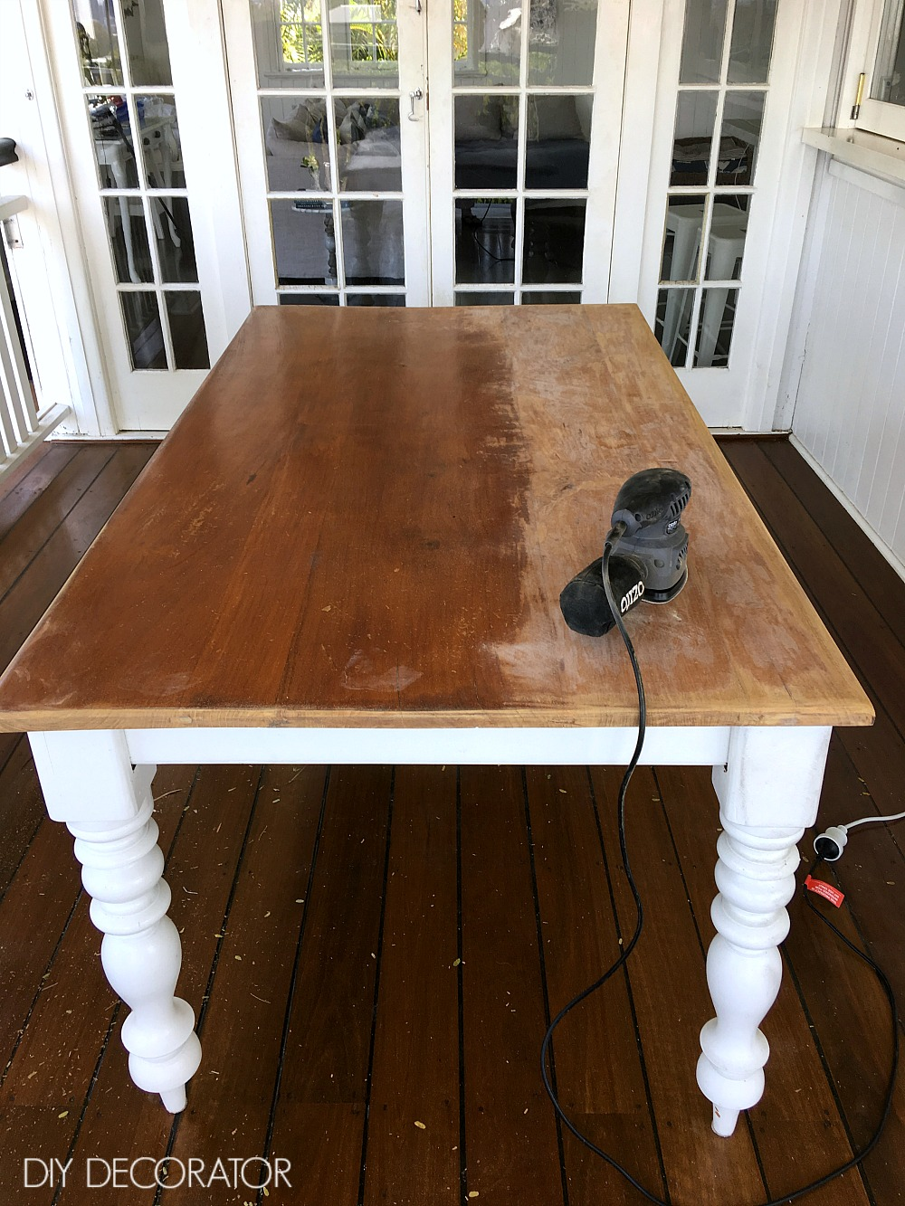 Refinish Outdoor Table Sanding Back