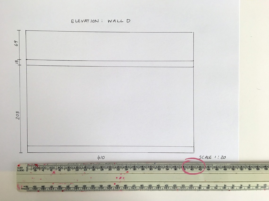 scale drawing plans with scale ruler