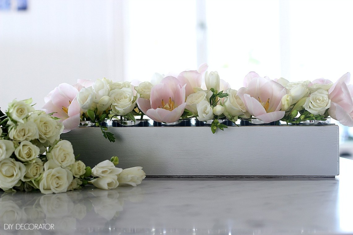 DIY Silver Flower Box Table Centerpiece