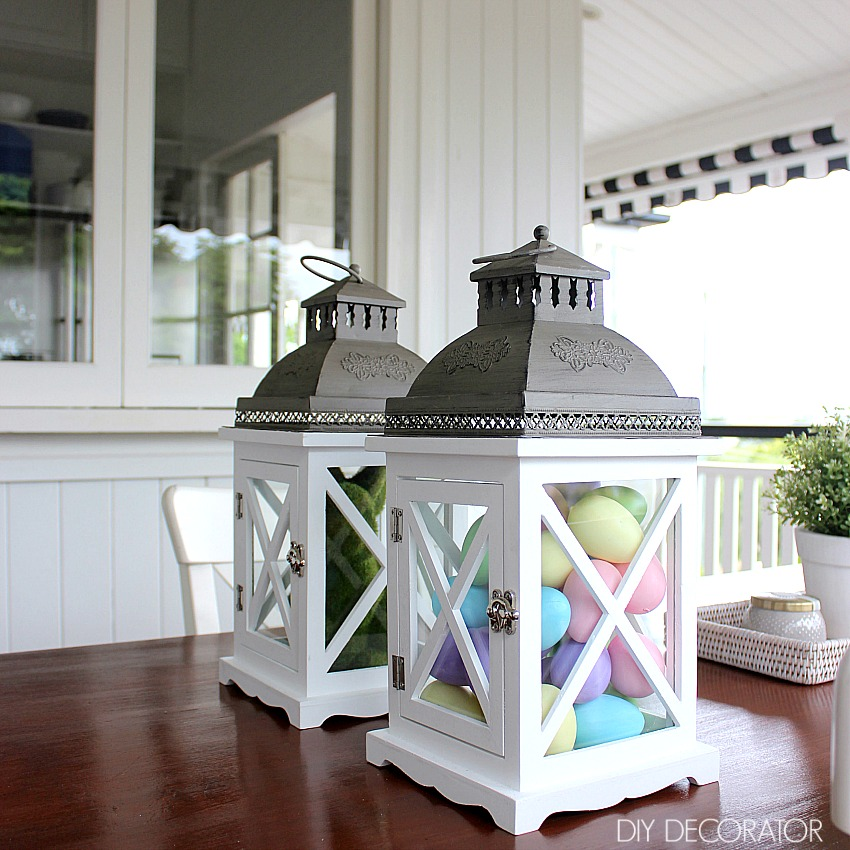 What to put in a lantern Easter decorations