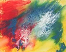 Acrylbild von ArtbyGabyMorath, stellt die vier Elemente dar, rot, blau, grün, gelb, weiß,